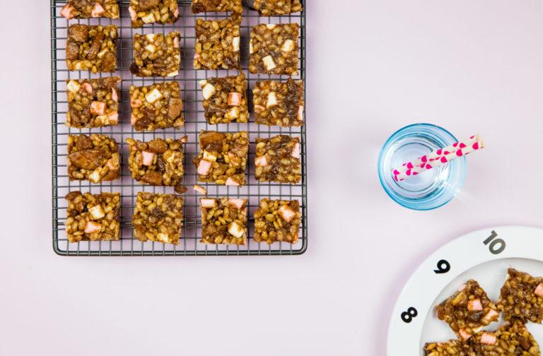 Krispy, Coconut, & Sultana Squares recipe by Annabel Karmel